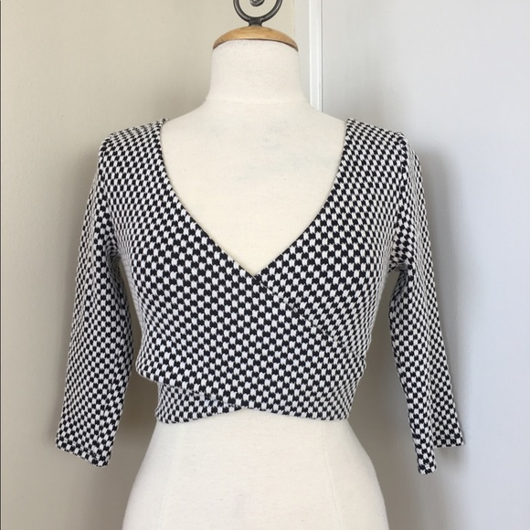 100% off Forever 21 Tops Checkered Print Knit Crop Top | Poshmark